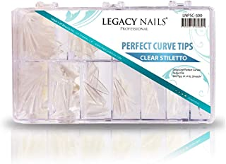 Legacy Nails Stiletto Nail Tips 500 Tips #1-#10, 50 Each in Clear/Natural (Clear)