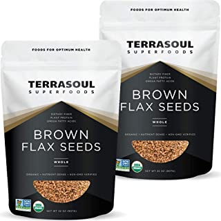 Terrasoul Superfoods Organic Brown Flax Seeds, 4 Lbs (2 Pack)