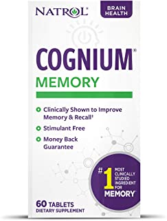 Natrol Cognium Tablets, Brain Health, Keeps Memory Strong, #1 Clinically Studied, Shown to Improve Memory and Recall, Safe...