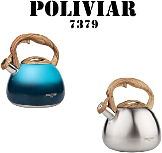 POLIVIAR Tea Kettle, Aqua/Sliver Ti Stovetop Tea Kettle 2.7 Quart, Audible Whistling Teapot, Food Grade Stainless Steel and Anti Hot Handle, Suitable for All Heat Sources