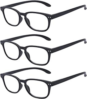 Outray Men & Women Reading Glasses 3 Pair Spring Hinges Rectangle Readers Glasses
