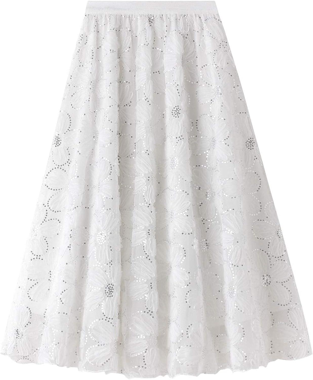 Women Tulle Tutu Long Skirt Maxi Floor Length Layered High Waist Dress Wedding Night Out Party A-Line Puffy Skirt