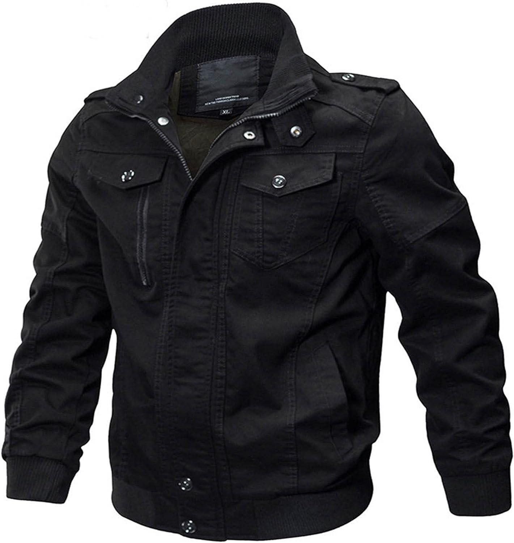 Men's Lightweight Bomber Cargo Jacket,Casual Cotton Multi Pockets Zip Windbreaker Outdoor Jacket Coats for Mens