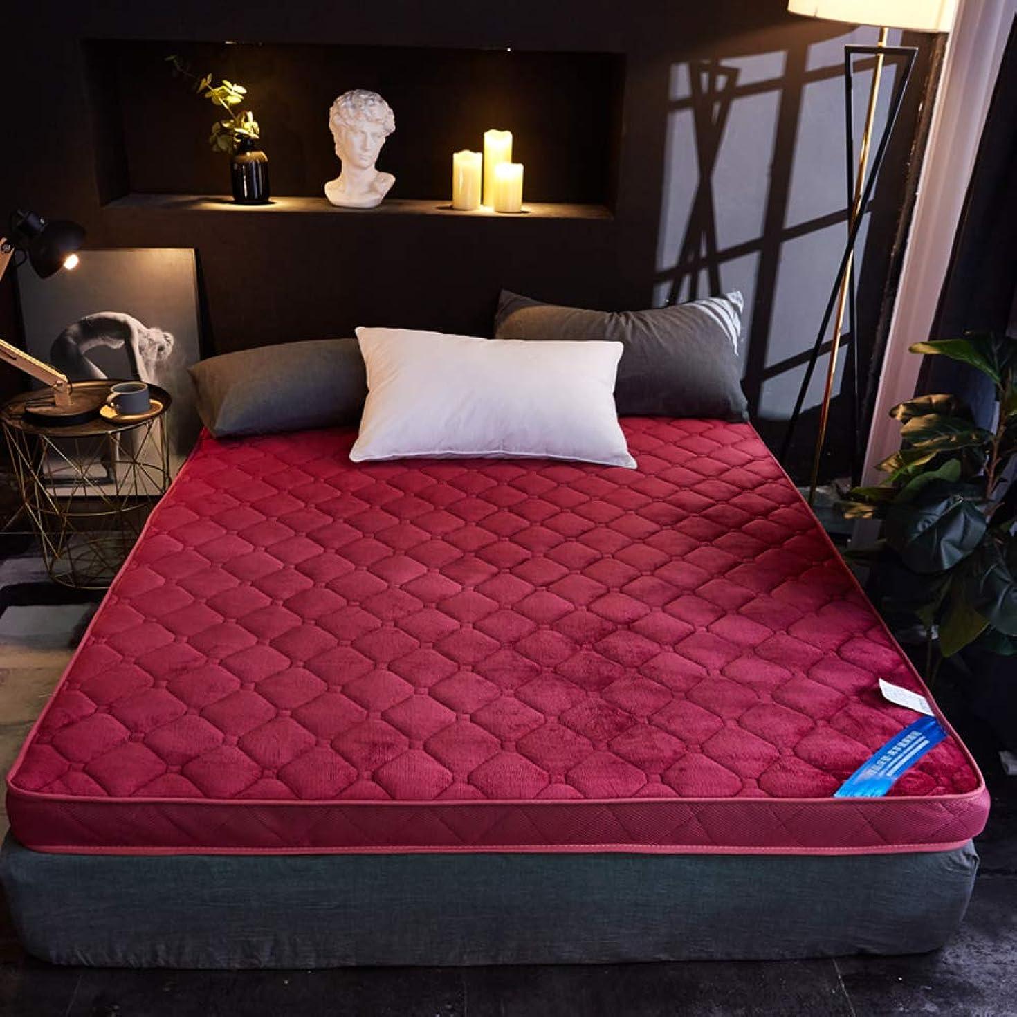 許可座る思慮深いキルト マットレス パッド, 記憶泡 延 冬 暖かい リビング ルーム 柔らか\ソフト 快適さ 持続可能です ベッド 床 食品-赤ワイン 120x190x6cm
