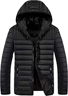 Men's Puffer Down Jacket Lightweight Packable Hooded Water-Resistant Winter Jacket (Not for Big Man)