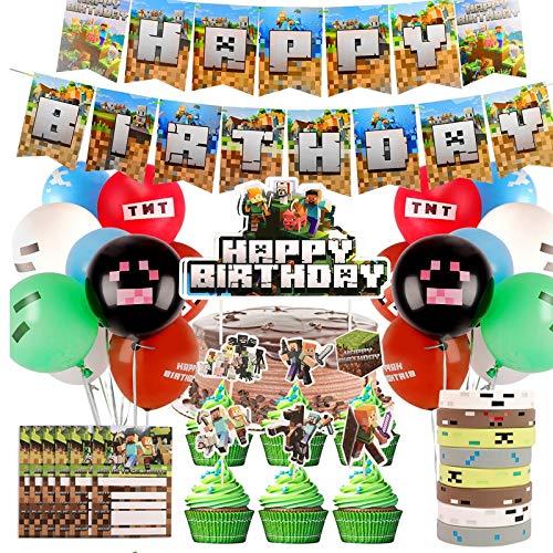 colmanda Forniture Feste Tema di Gioco, Articoli per Feste Videogiochi Happy Birthday Striscioni di Gioco, Miner Style Gamer Party, Forniture per Feste Tema Feste Compleanno Bambini Ragazzi