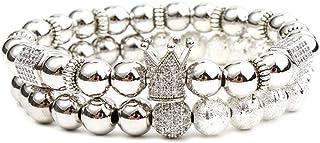 أساور من النحاس الفاخر على شكل تاج من WenQian Jewelry للرجال والنساء مع خرز زركونيا مكعّب بطول 8 مم