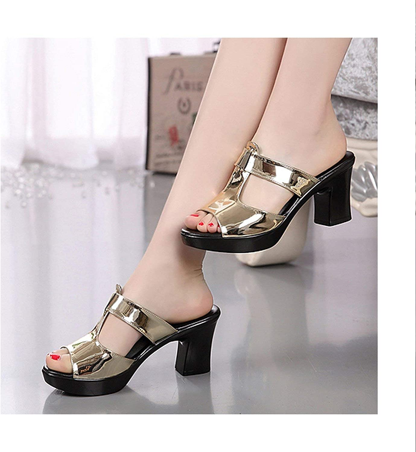 HANBINGPO Fashion Women's shoes Patent Leather Slippers Female Sandals Casual Slip-On Fretwork Cut-Outs Mixed colors