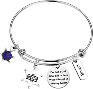 WSNANG Sheriff Deputy Gift I'm Just a Girl Who Fell in Love with a Knight in Shining Kevlar Wire Bangle Bracelet Sheriff D...