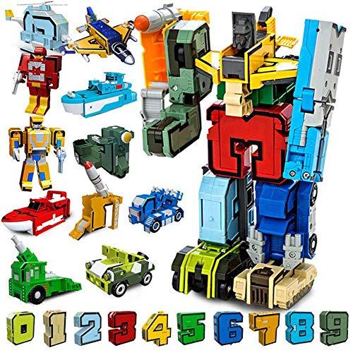 Número alfabeto transforman robots educación rompecabezas