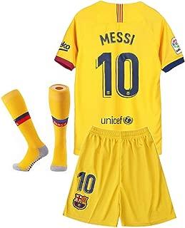 Barcelona 2019/2020 Season Kids/Youth Home #10 Messi Soccer T Shirt Shorts Socks Red/Blue