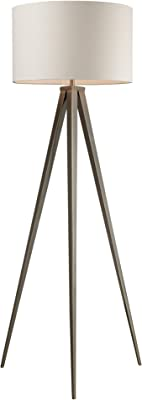 Dimond D2121 20-Inch Width by 61-Inch Height Salford Floor Lamp in Satin Nickel with Off-White Linen Shade and Pure White Fabric Liner