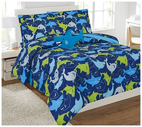 WPM 8 Piece Full Comforter Set Kids/Teens Blue Water Shark Print Design Luxury Bed in a Bag Furry Decorative Toy Pillow Included-Shark (Full Comforter Set)