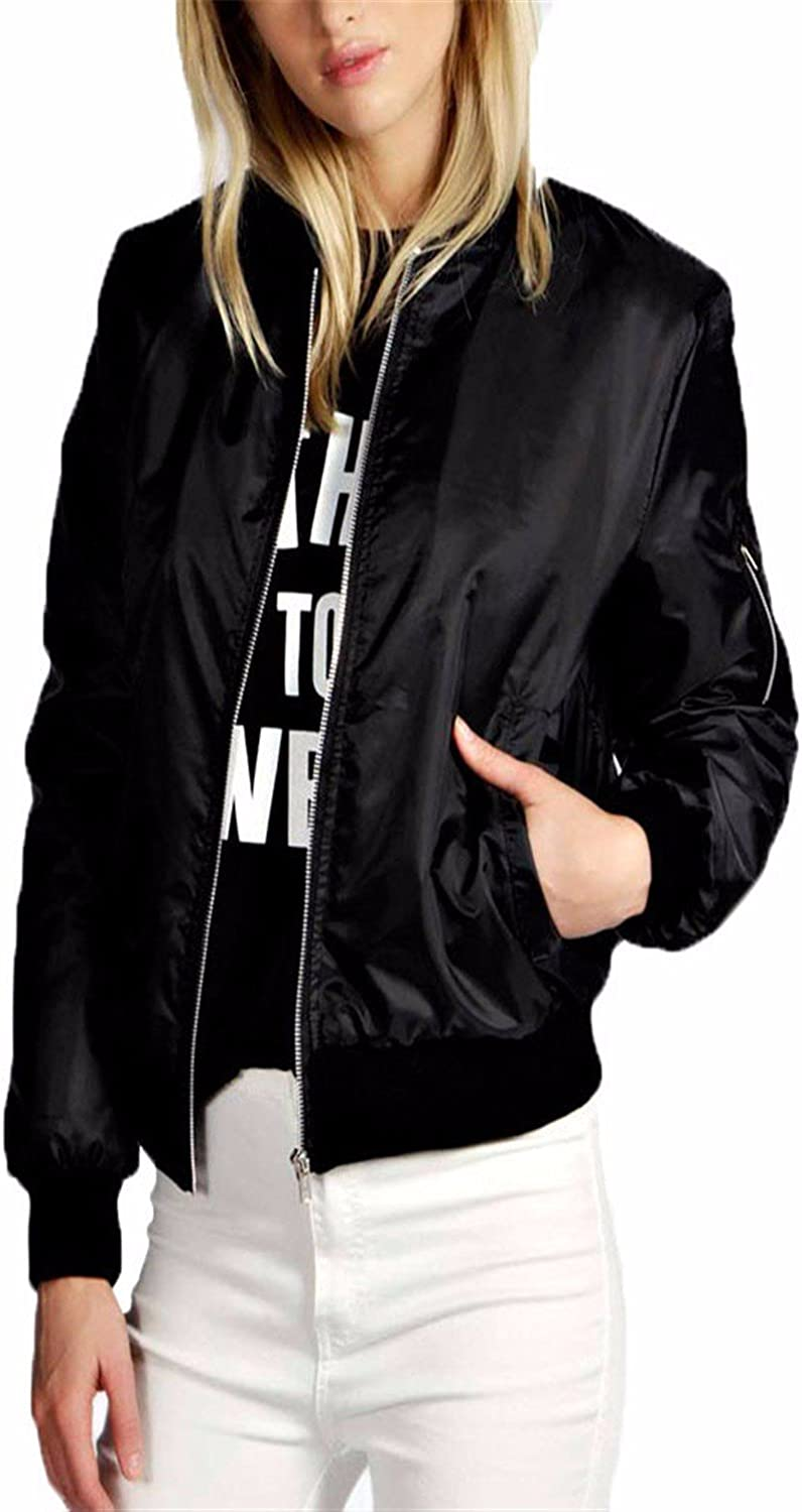 Celmia Classic Bomber Jacket Vintage Long Sleeve Solid Side Pockets Casual Padded Slim Fit Biker Coat