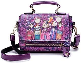 Fine Bag/Fashion Print Crossbody Spring Soft Handbag Flip Small Square Bag Adjustable Shoulder Bag (Color : Purple, Size : 20 * 10 * 16cm)