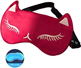 Cute Cat Eyelashes Embroidered Sleeping Eye Mask Girls Adjustable Strap Ice Gel Cold Pack Cool Compress Blindfold Eye Shade,6 with Ice Bag