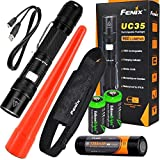 EdisonBright Fenix UC35 USB Rechargeable 960 Lumen Cree LED Flashlight with, Fenix ARB-L2P 3200mAh Rechargeable Battery, AOT-S Traffic Wand and 2 X Lithium CR123A Back-up Batteries Bundle