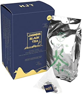Black Tea Organic Pouches,Jasmine Black Tea Bags in Individual Foil Packs, Breakfast (50)