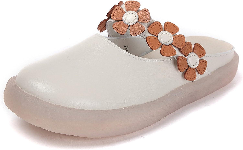 DANDANJIE Damen Sandalen Sommer Hausschuhe Mode Blaumen Flache Ferse Breathable Lssige Flip Flops Outdoor Close Toe Schuhe (Farbe   Beige, Gre   39)