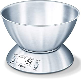 Beurer KS54 Modern Digital Kitchen Scale   Stainless steel design   With 1.5l weighing bowl   Tare weighing function   Tem...