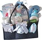 Luxury New Baby Hamper Gift Set Blue. New Born Baby Boy Essentials for Expectant Parent. Mum to be. Nappy Caddy Organiser Present for Pregnancy, Maternity.