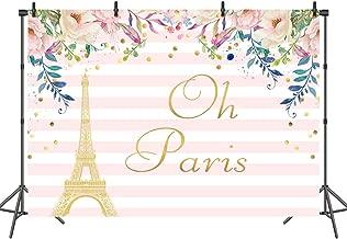 Sensfun Pink White Striped Paris Eiffel Tower Backdrop Gold Spots Floral Party Banner Studio Video Background Kids Children Girls Photography Photo Props 7x5ft