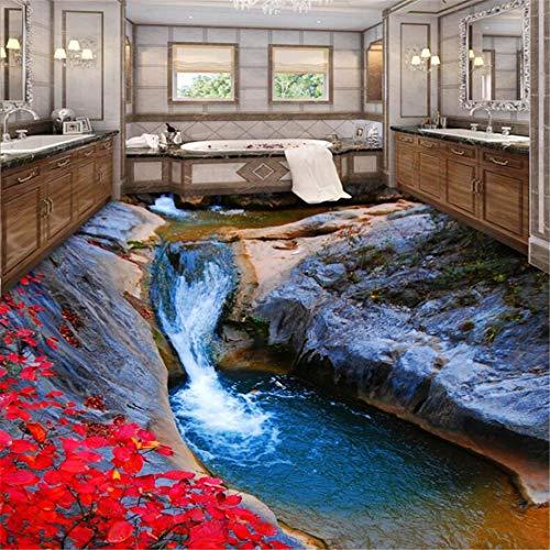Benutzerdefinierte tapete wandbild jeder größe foto bergbach herbst blätter badezimmer badezimmer 3d boden malerei, 200 * 140 cm
