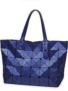 Shoulder Bag Women Geometric Handbag Matte Brushed Lingge Leather Shoulder Bags Satchel Tote Handbag Clutch (Color : Blue, Size : 32 * 12 * 26cm)