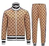 AILINSHA Gentlemen Chacksuit Chaquetas a Cuadros Conjuntos Sets Men Cremallera Traje Moda Moda Grid Sportsuit Mens Sudaderas Sportswear Abrigo + Pantalón Khaki-XXL
