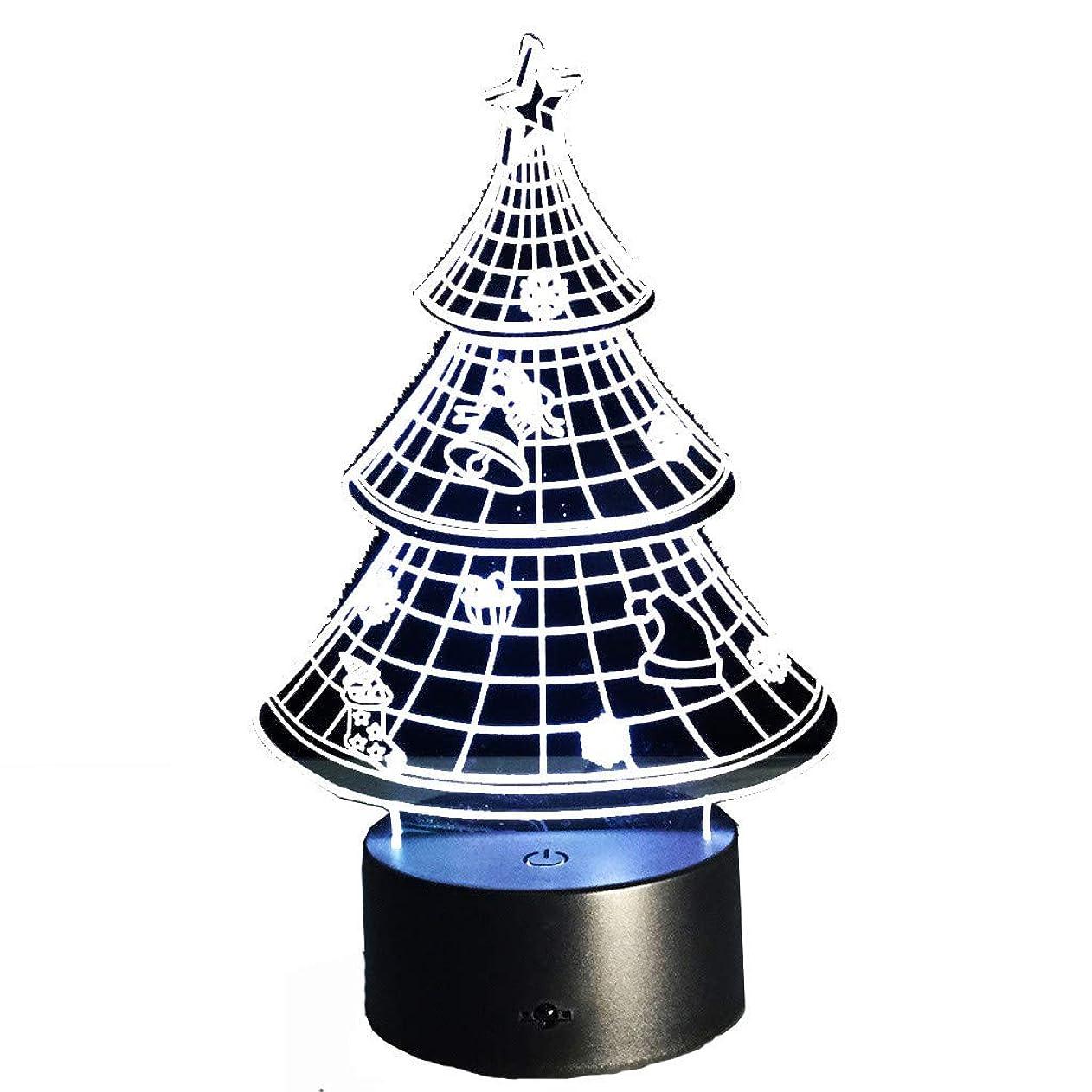 レバー別の有害なHLosanyyクリスマスtree3Dナイトライトテーブルデスクランプ7色3 D錯視ライト