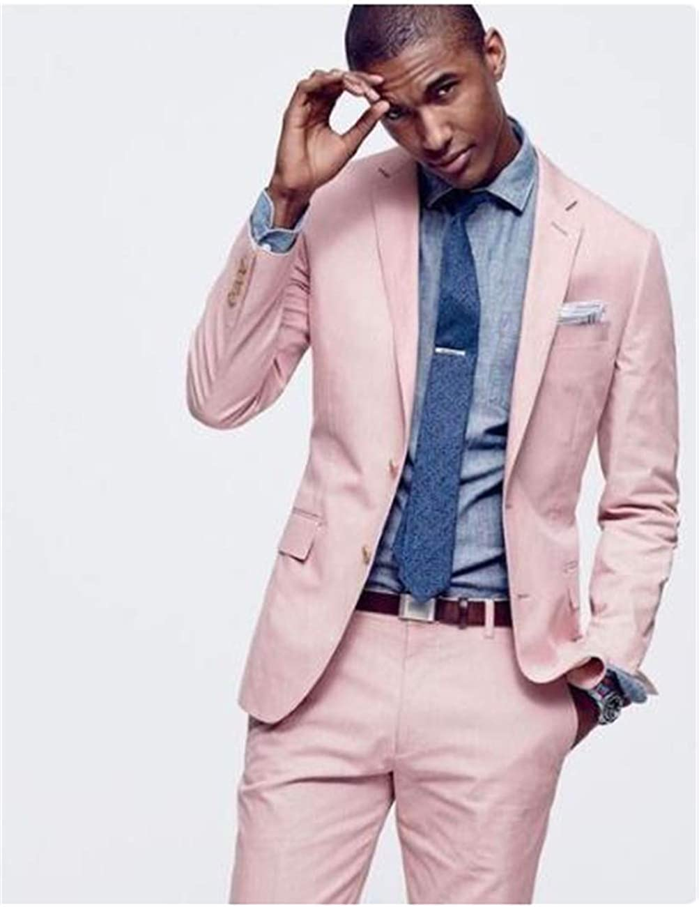 Wedding Men Suit Two Pieces Blazer Slim Fit One Button Notched Collar Causal Men's Suits Groom Tuxedo(Jacket+Pants)