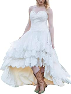 61307f91ee Sophie Women's Sweetheart High Low Country Style Wedding Dresses for Bride  A Line Lace Formal Gowns