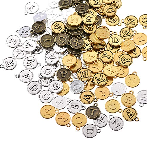 130pcs Mixed Color Random Transmission Alloy Round Shape 26 Alphabet English Letters Charms Pendant Jewelry Findings for Jewelry Making Necklace Bracelet DIY 15x12 mm(130pcs)