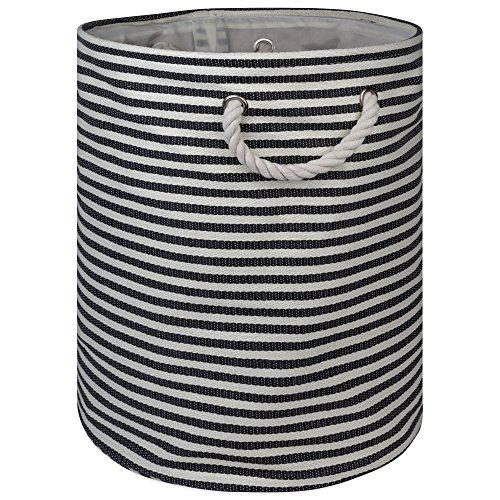 DII Pinstripe Woven Paper Laundry Storage Bin 1375x1375x17 Medium Round Black