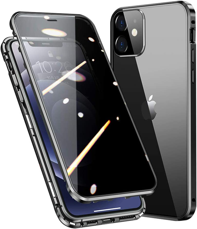 KMXDD Safety Lock Case for iPhone 12 Mini 5.4-inch Anti-Peeping Bumper Case Built in Camera Lens Protector Anti-peep Magnetic Cover Double-Sided Glass Privacy Screen (12Mini, Black)