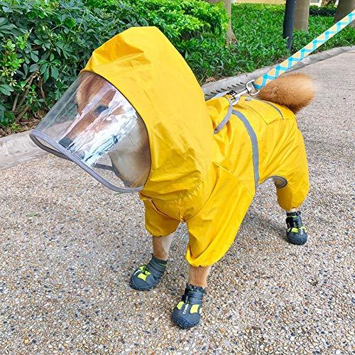 Chuajunn, cappottino impermeabile per cani con cappuccio e riflettori, giacca impermeabile con protezione addominale per cani di taglia piccola e grande, giallo (7,5 – 9 kg))