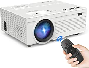 FULLJA Mini Portable Projector, Full HD 1080P Home Theater Projector Support for Outdoor Movies, Audio, Video, Picture, Compatible with HDMI/VGA/USB/TF/AV, 8000Lux LED Projector(with Remote Control)