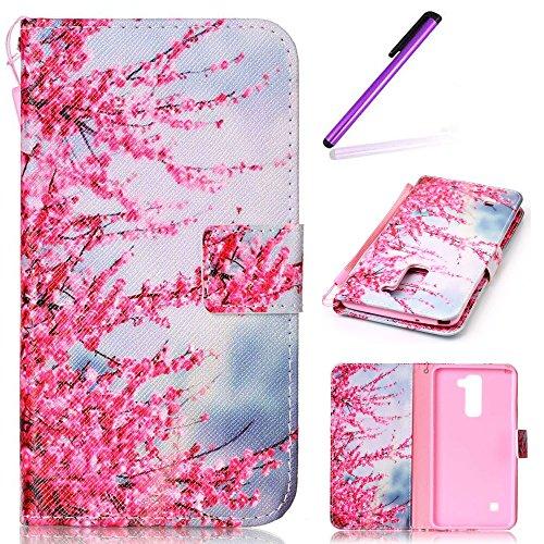EMAXELERS LG Stylus 2 Hülle Schmetterling PU Leder Lederhülle Flip Tasche Wallet Schutzhülle Etui Bookstyle Handyhülle Hülle für LG G Stylo 2 K520 / LS775,Pink Pulm Flowers Tree