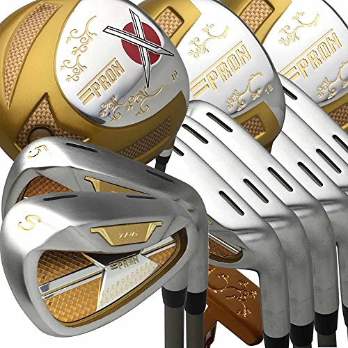Japan Epron TRG Driver 3 5 Fairway Wood 4-Sw Iron and Putter Golf Club Set+Leather Cover(Pack van 16,R Flex, Grip 0.6 inch)