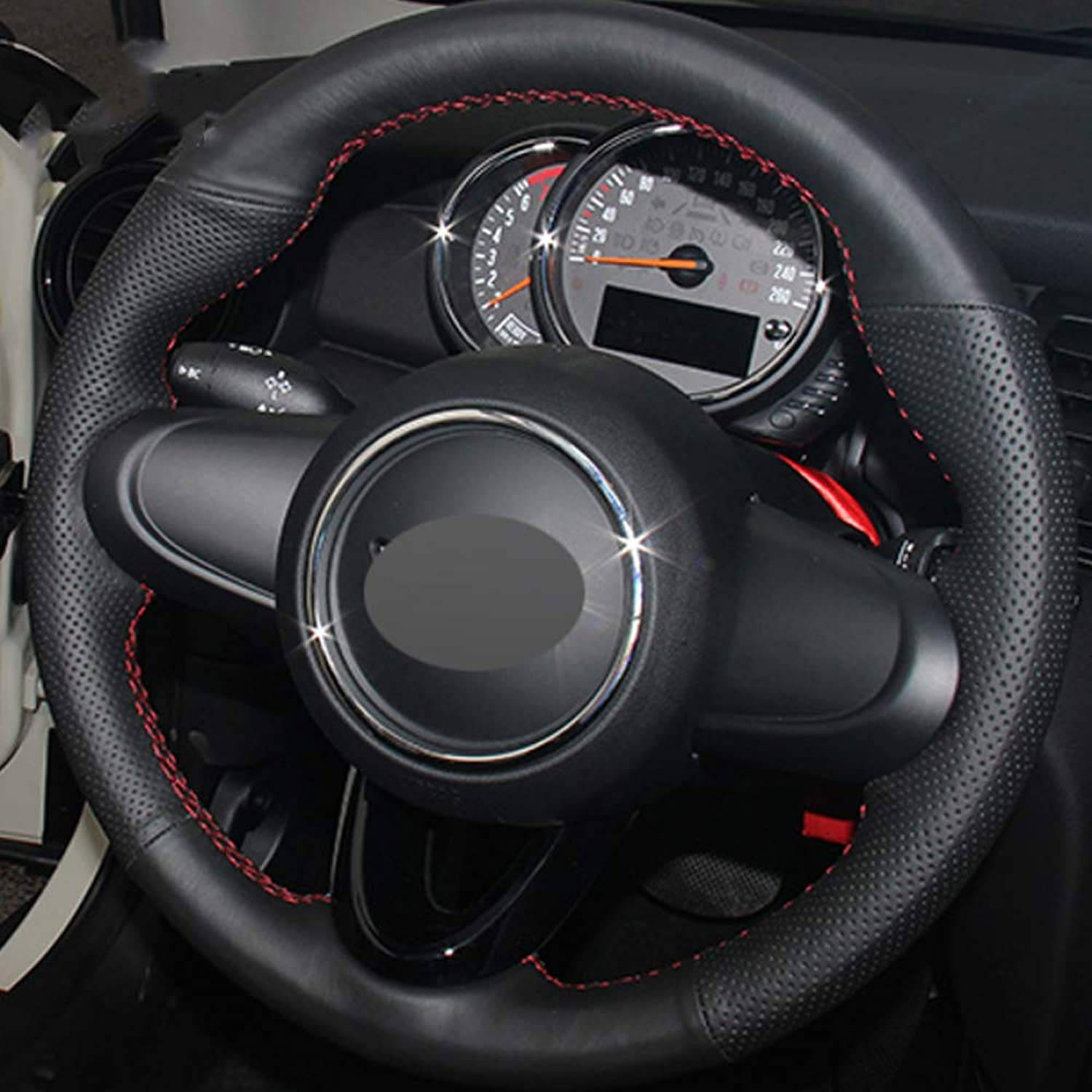 HCDSWSN Black Genuine Leather DIY HandStitched Car Steering Wheel Cover for BMW Mini Coupe 2016