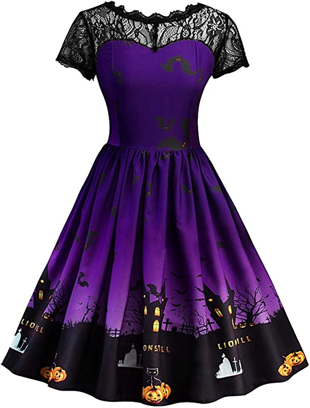 Women Halloween Lace Dress Fashion Vintage Gown Printed Pleated Swing Midi Dress Stitched A Line Cocktail Dress