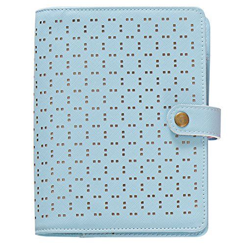 Labon's 6 Round Ring A6 Blue Binder Button Hollow Filofax Planner with 2020 2021 2022 Calendar/Monthly Weekly Daily Schedule/Telephone & Address/Personal Memo 120 Sheet Premium Thick Paper