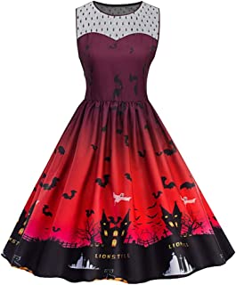 TIANMI Women Halloween 50s Dress Vintage Sleeveless Evening Party Dress Plus Size Casual Print Ladies Dresses