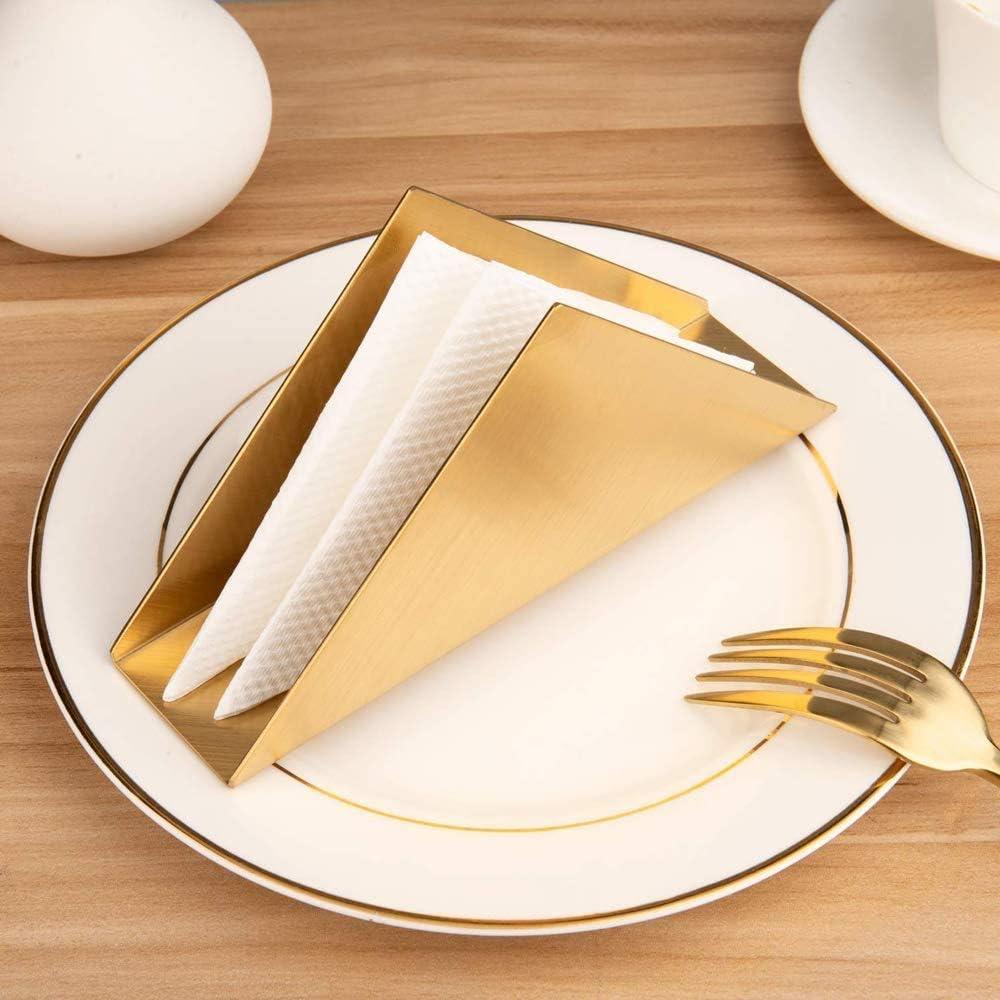 F/ülleMore Napkin Holder Fashion Stainless Steel Tissue Dispenser Triangular Tissue Dispenser Standing Napkin Stand Kitchen Dining Table Cloth Holder Tissue Stand 17 x 8.5 x 4.5 cm Gold