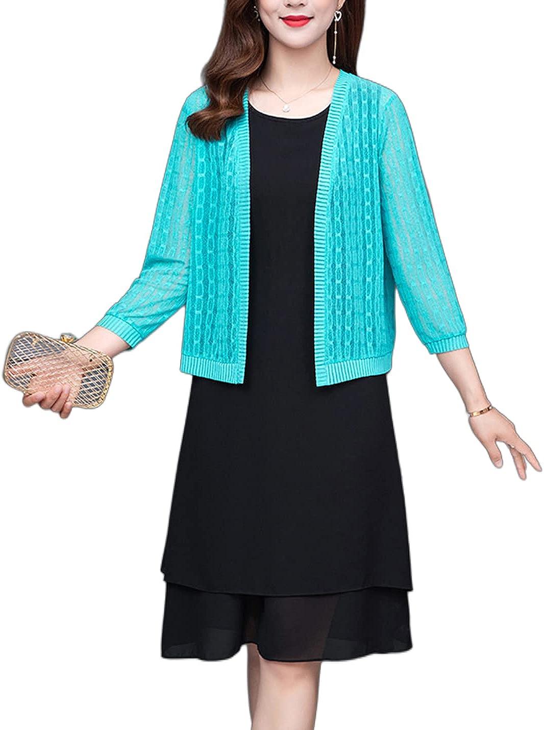 FindThy Women's Chainlike Ribbed Lace Cardigan See-Through 3/4 Sleeve Bolero Shrug Knitwear