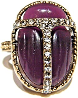 Purple Resin Art Deco-Inspired Scarab Beetle Cabochon Ring with Glass Crystals in Gift Box US Size 6.5