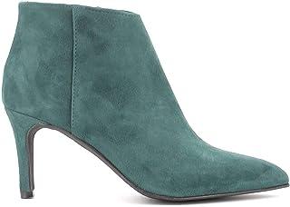 Debutto Donna Tronchetti in camoscio con Cerniera e Tacco a Spillo - Scarpe Donna Made in Italy - Colore Verde, Taglia EU 37