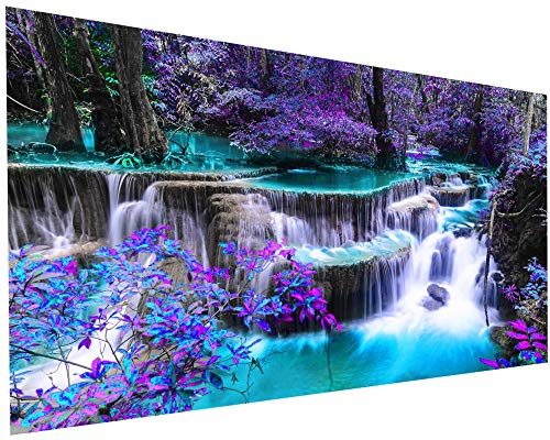 5D Diamond Painting Kits for Adults DIY Large Waterfall Full Round Drill (35.5 x 15.7 inch) Crystal Rhinestone Embroidery Pictures Arts Paint by Number Kits Diamond Painting Kits for Home Wall Decor