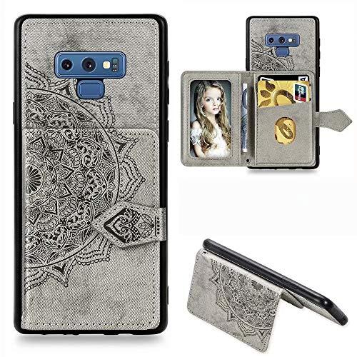 WVYMX Galaxy Note 8 ケース, ケース 手帳型 横開き レザー 革 カバー マグネット式 カードポケット スタンド機能 スマホケース For Samsung Galaxy Note 8 Grey