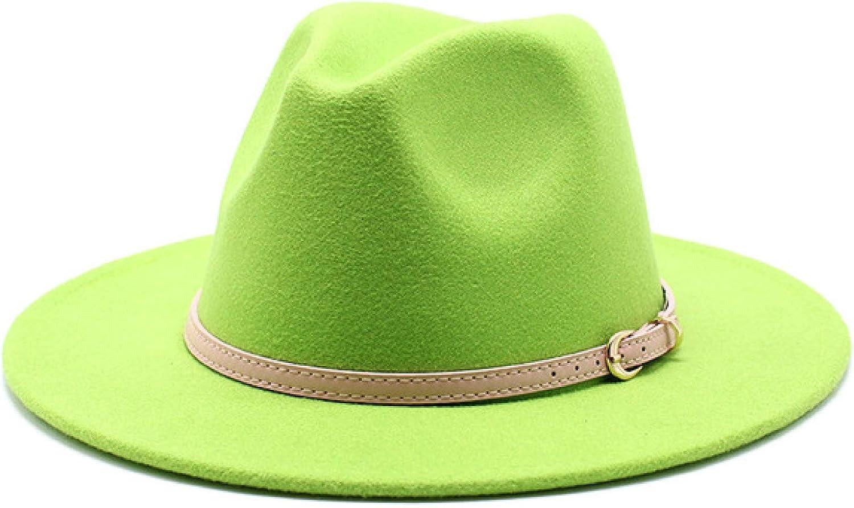 ASO-SLING Adjustable Fashion Men Women Wide Brim Pink Dress Hat Wool Felt Hat Fashion Party Jazz Trilby Fedora Hat
